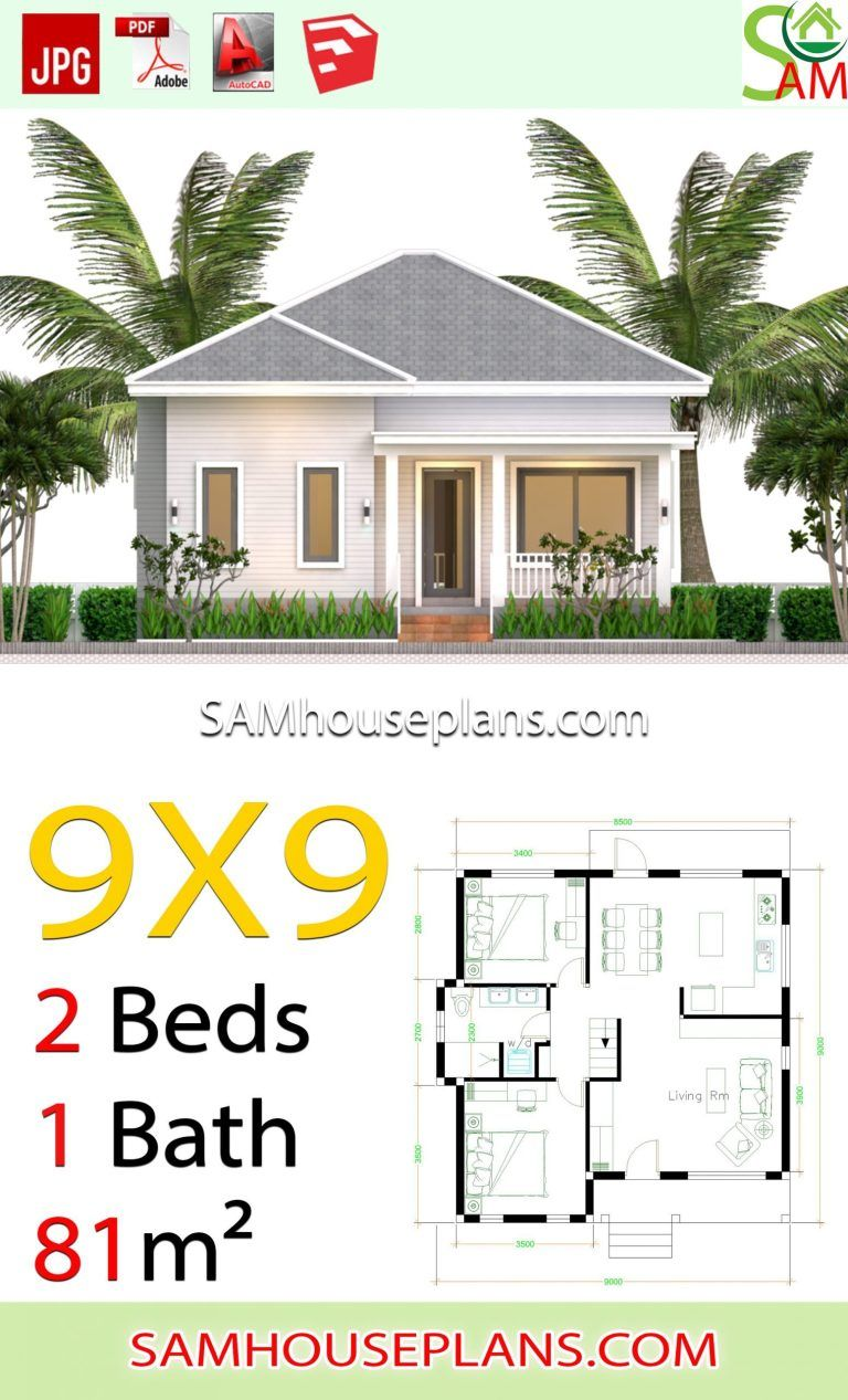 House Plans 9x9 With 2 Bedrooms Hip Roof Sam House Plans In 2020 Small House Design Plans House Plans Village House Design