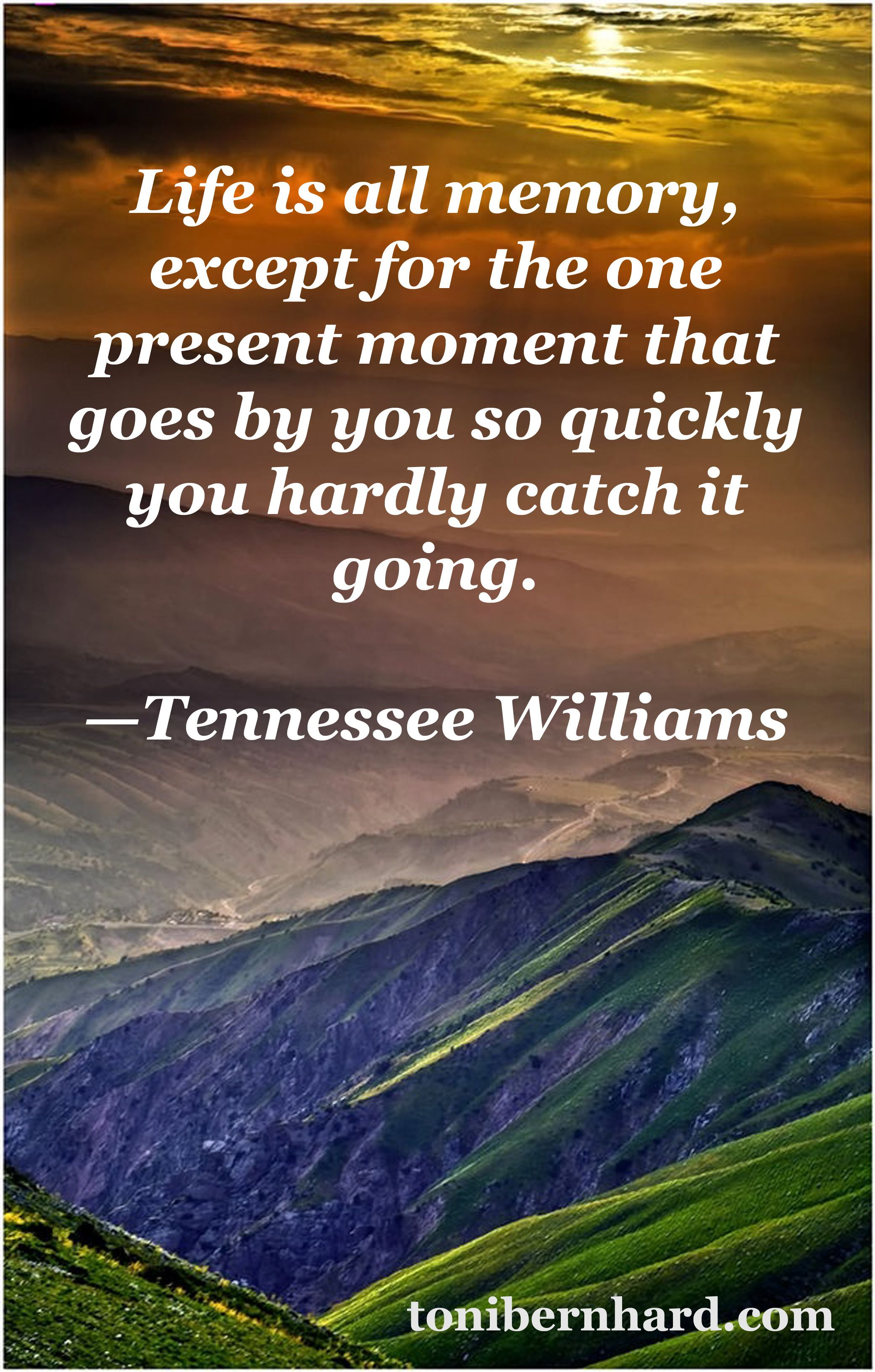 Life is all memory, except for the one present moment that goes by you so quickly you hardly catch it going. Quote by Tennessee Williams