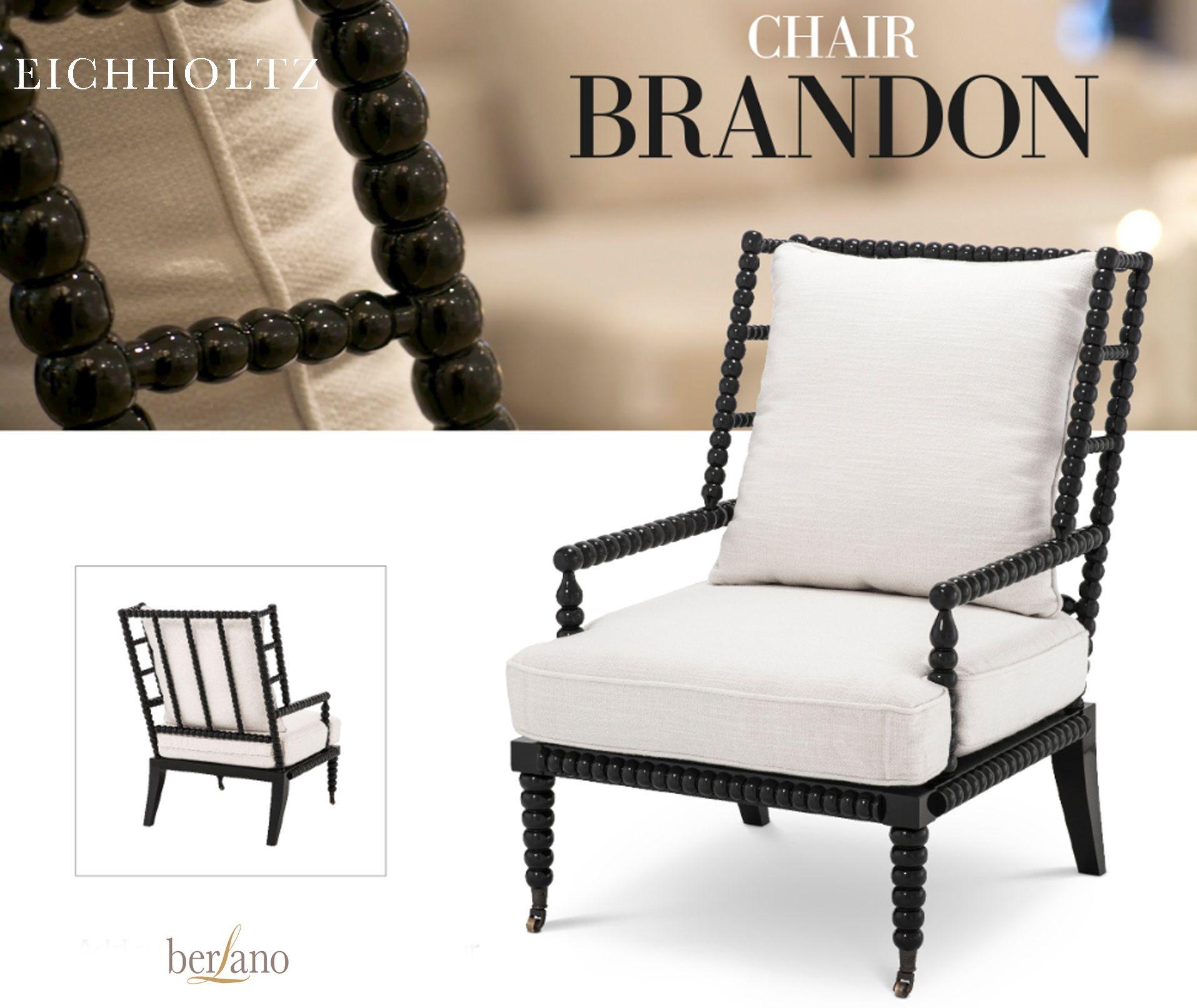 Pleasant Eichholtz Chair Brandon Fauteuil Zwart Gebroken Wit Ibusinesslaw Wood Chair Design Ideas Ibusinesslaworg