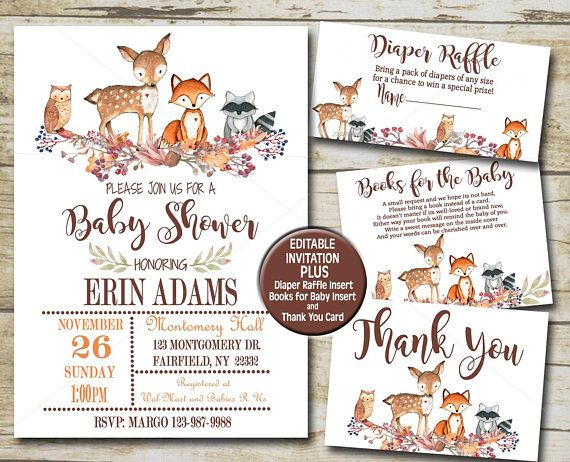 Woodland animal baby shower invitation kit editable books woodland animal baby shower invitation kit editable books woodland baby shower pinterest invitation kits woodland baby showers and woodland baby filmwisefo Gallery