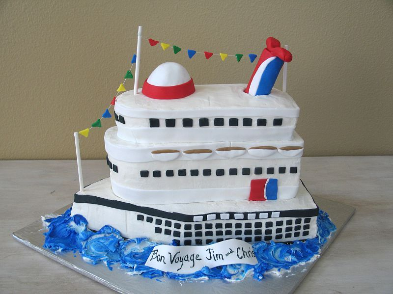 That is a lovely bon voyage cruise ship cake Cruise ships
