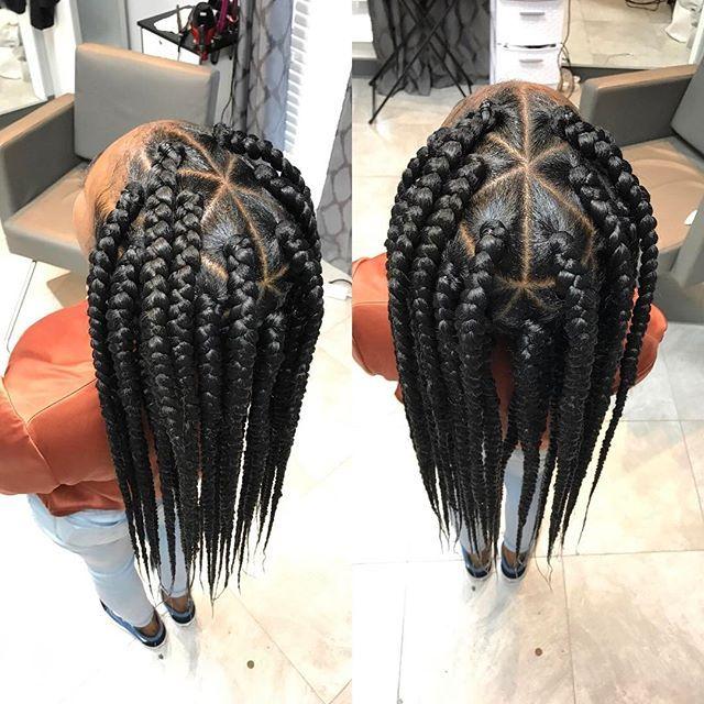 large triangle part box braids