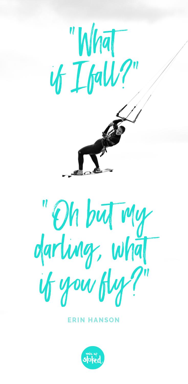 Inspirational quote around kitesurfing quote Surfen