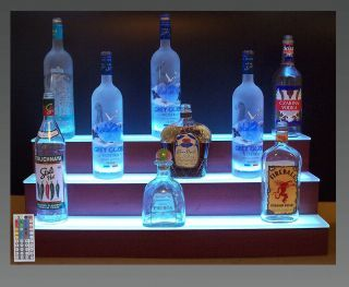 Gl Bar Shelves Lighted 32 Led Three Tier Back Liquor Bottle Shelf Display Bars