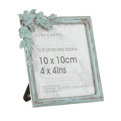 Debenhams Light blue metal flower 4x4 inch photo frame- at Debenhams ...