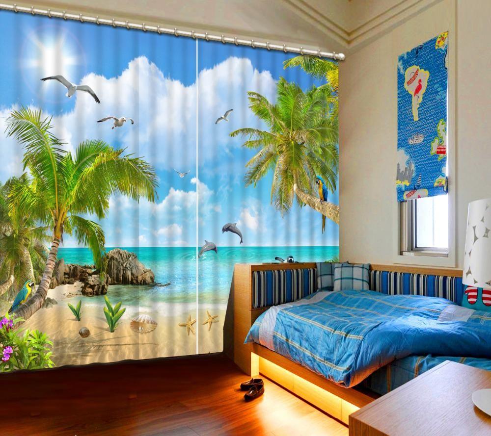 Luxury European Modern Beach Nature Scenery Modern Curtains For