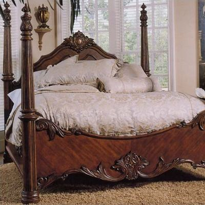 four poster bedroom sets Woodcrafters Heirloom Distressed Four - Poster Bedroom Sets