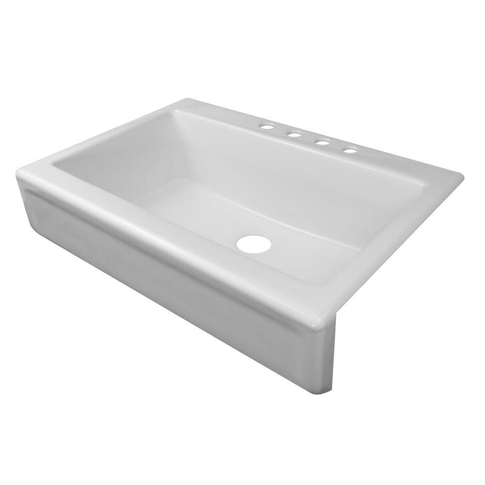 Lyons Industries Simplicity A Front Acrylic 34 In 4 Hole Single Bowl Kitchen Sink White