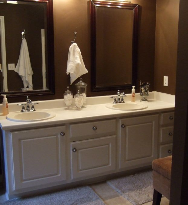 Chocolate Brown White Bathroom Before After Pics Dark Brown Bathroom Brown Bathroom White Bathroom