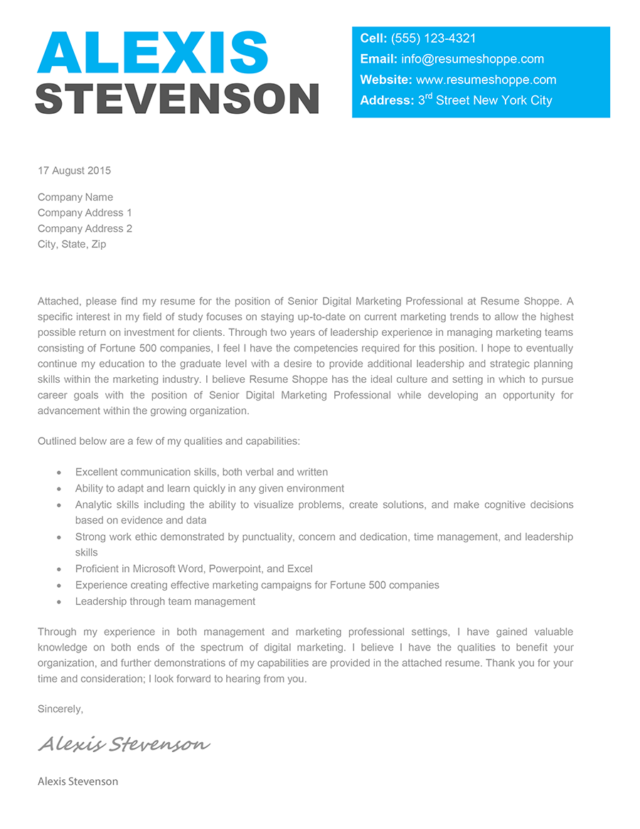 The Alexis Cover Letter template is an effective creative cover – Cover Letter Templates