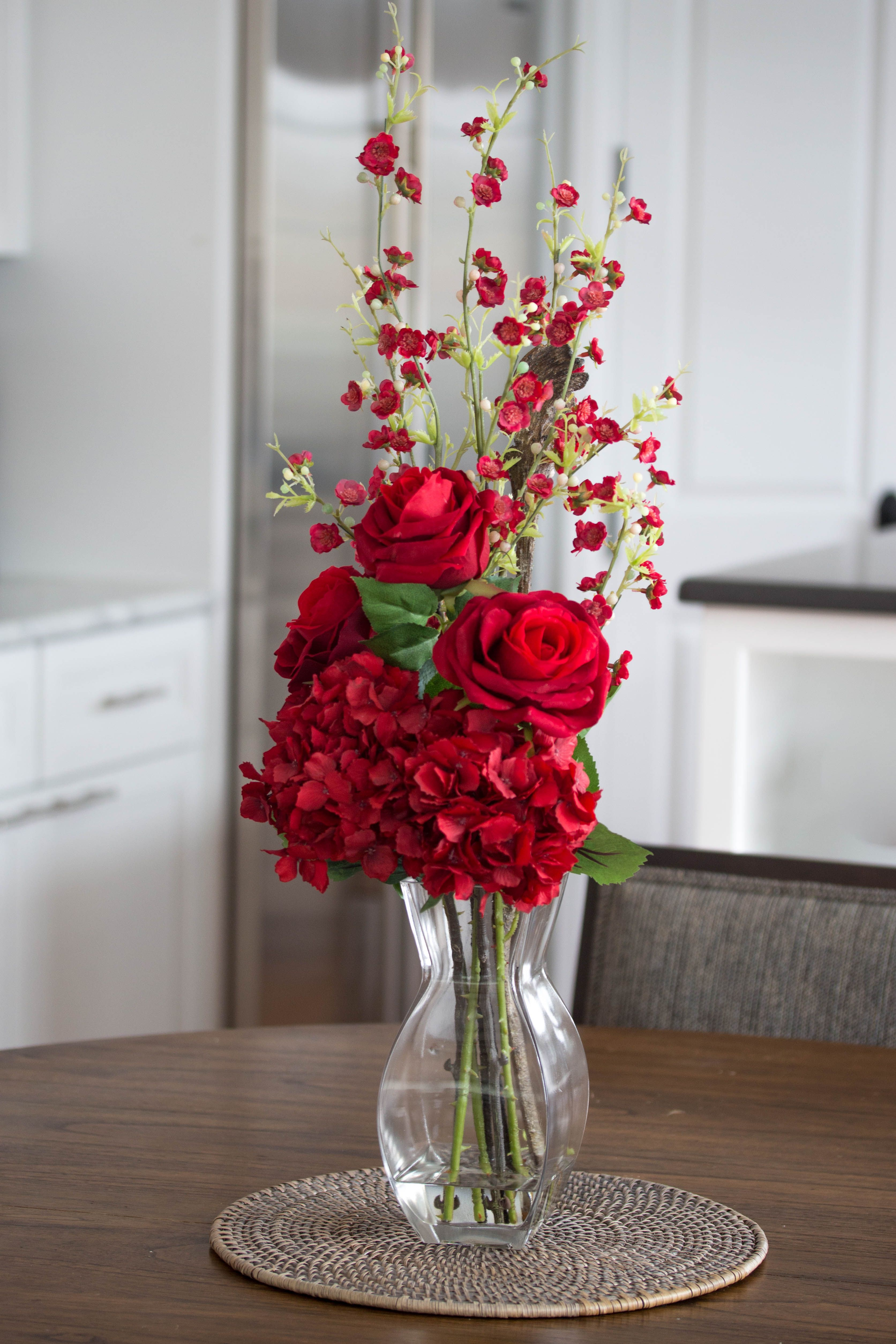 Red Hydrangea Cherry Blossom And Rose Arrangement Silk Flower Arrangement Red Cherry Blossom Centerpiece Red Flower Arrangements Red Wedding Centerpieces