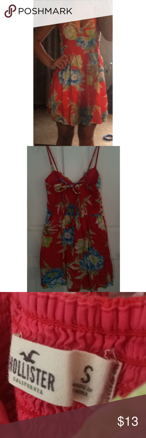 Hollister floral dress red dress with blue and green accents. adjustable straps in back. Hollister Dresses Mini