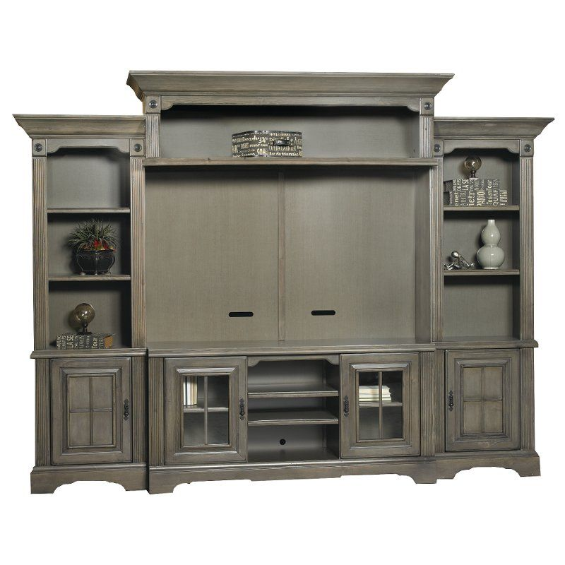 Traditional Gray 5 Piece Modern Entertainment Center Newport In