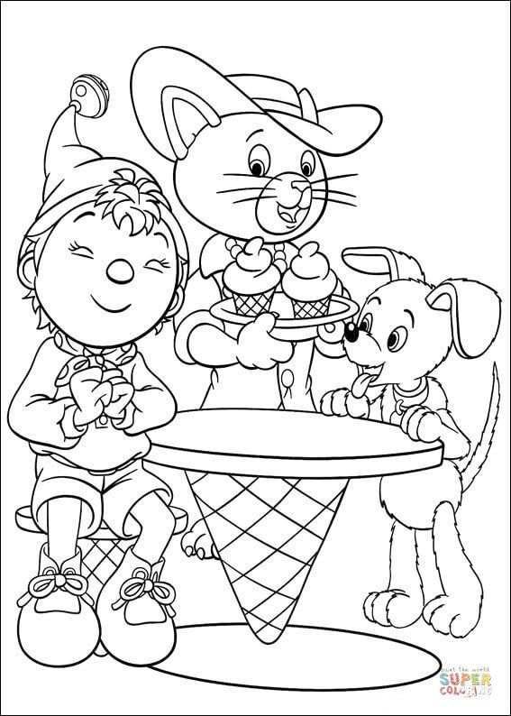 Cat ice cream coloring pages ~ Noddy, Bumpy dog and a cat are about to enjoy ice-cream ...