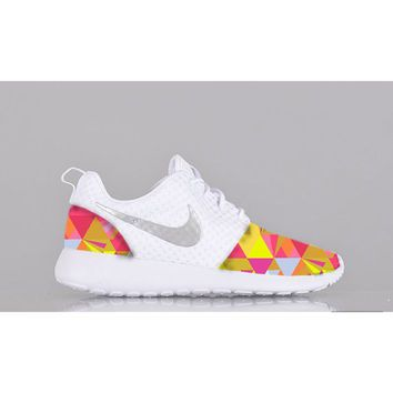 wholesale dealer 97dd6 8bad5 New Nike Roshe Run Custom Pink Yellow White Prism Triangle Geometric  Edition Womens Shoes Sizes 5 - 12