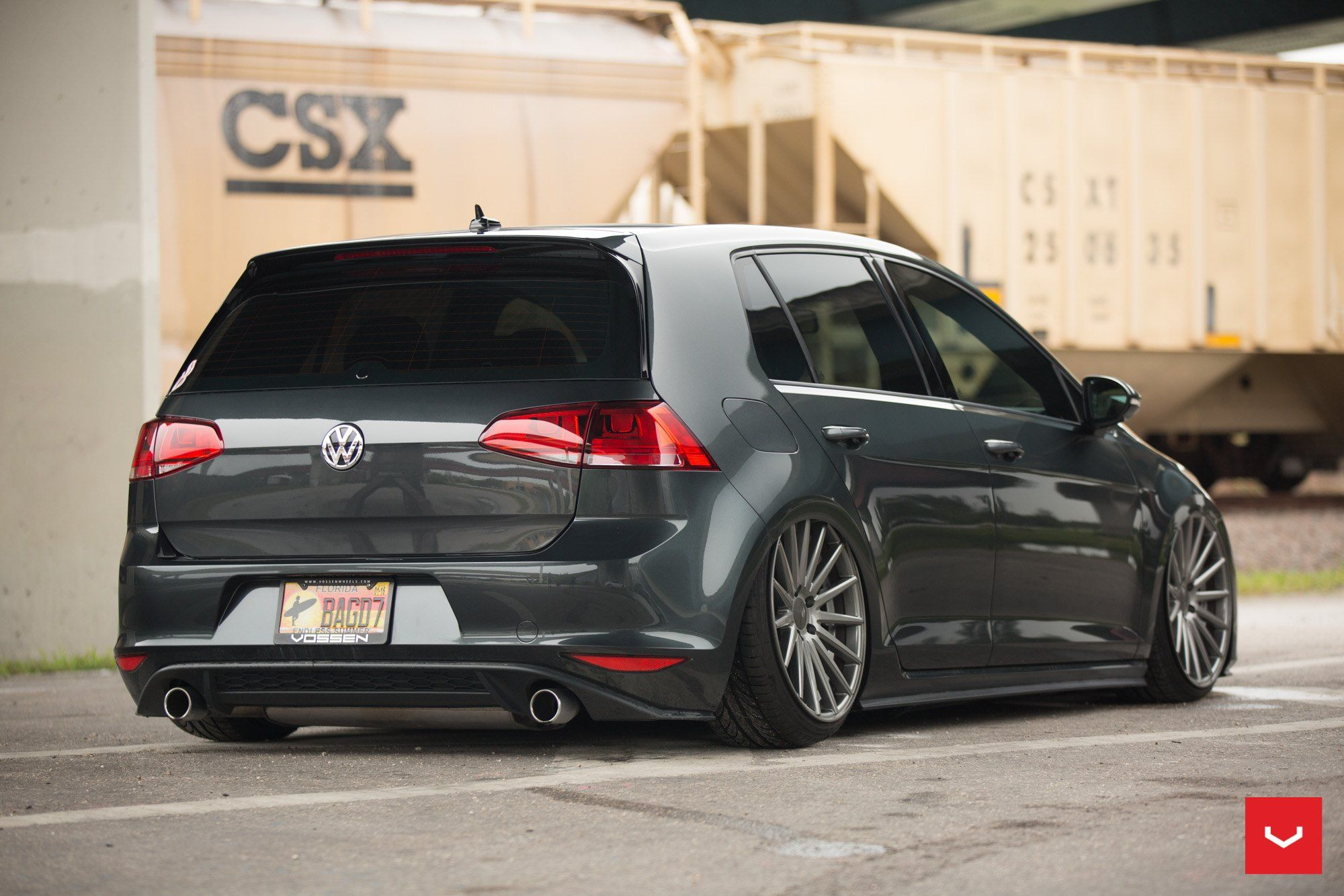 Slammed Beauty Black Vw Golf Gti On Custom Rims