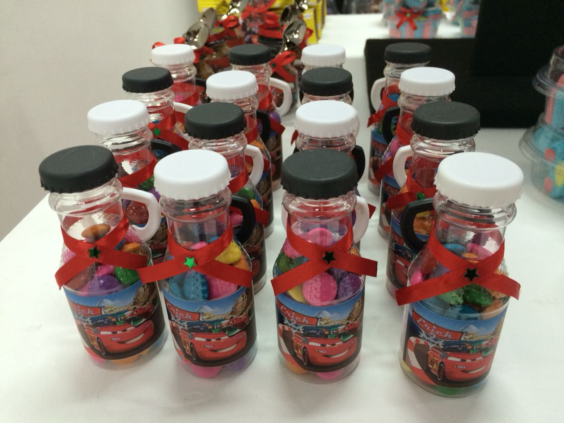 Candy bottle. Cars birthday party