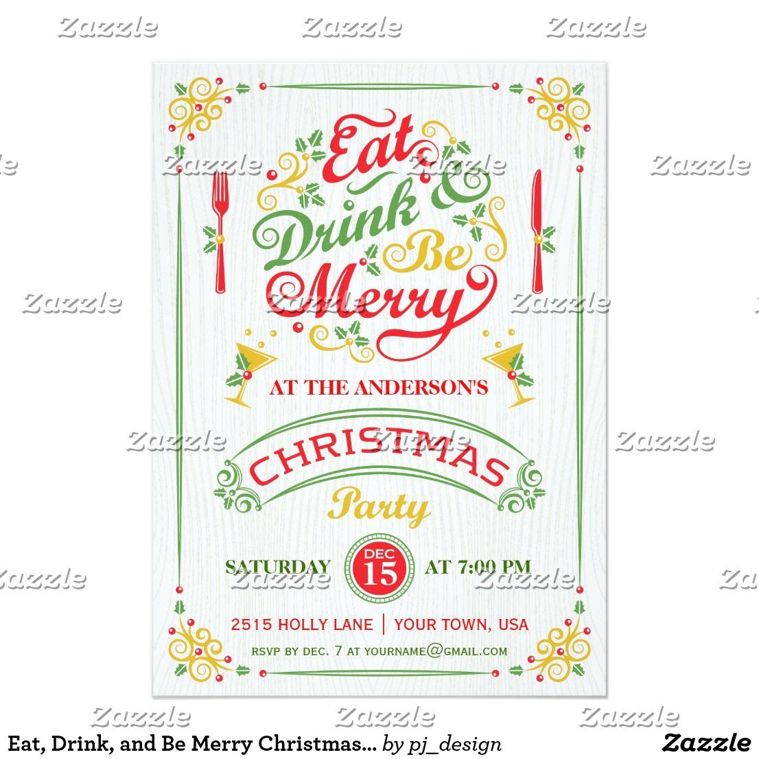 eat drink and be merry christmas party iii invitation pinterest