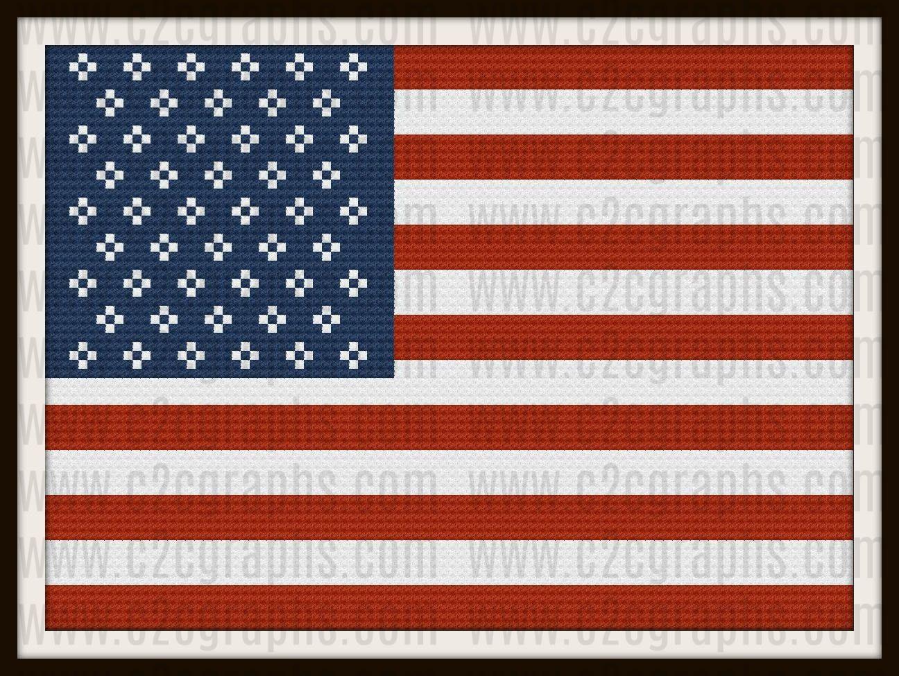 USA Flag Afghan, C2C Graph, USA Flag Crochet Pattern | Graph ...