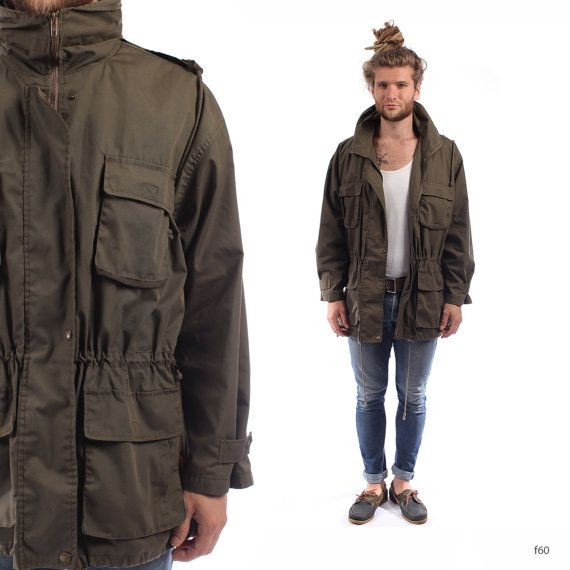 Men PARKA JACKET . Vintage 90s Grunge Drawstring Short Hooded Coat ...