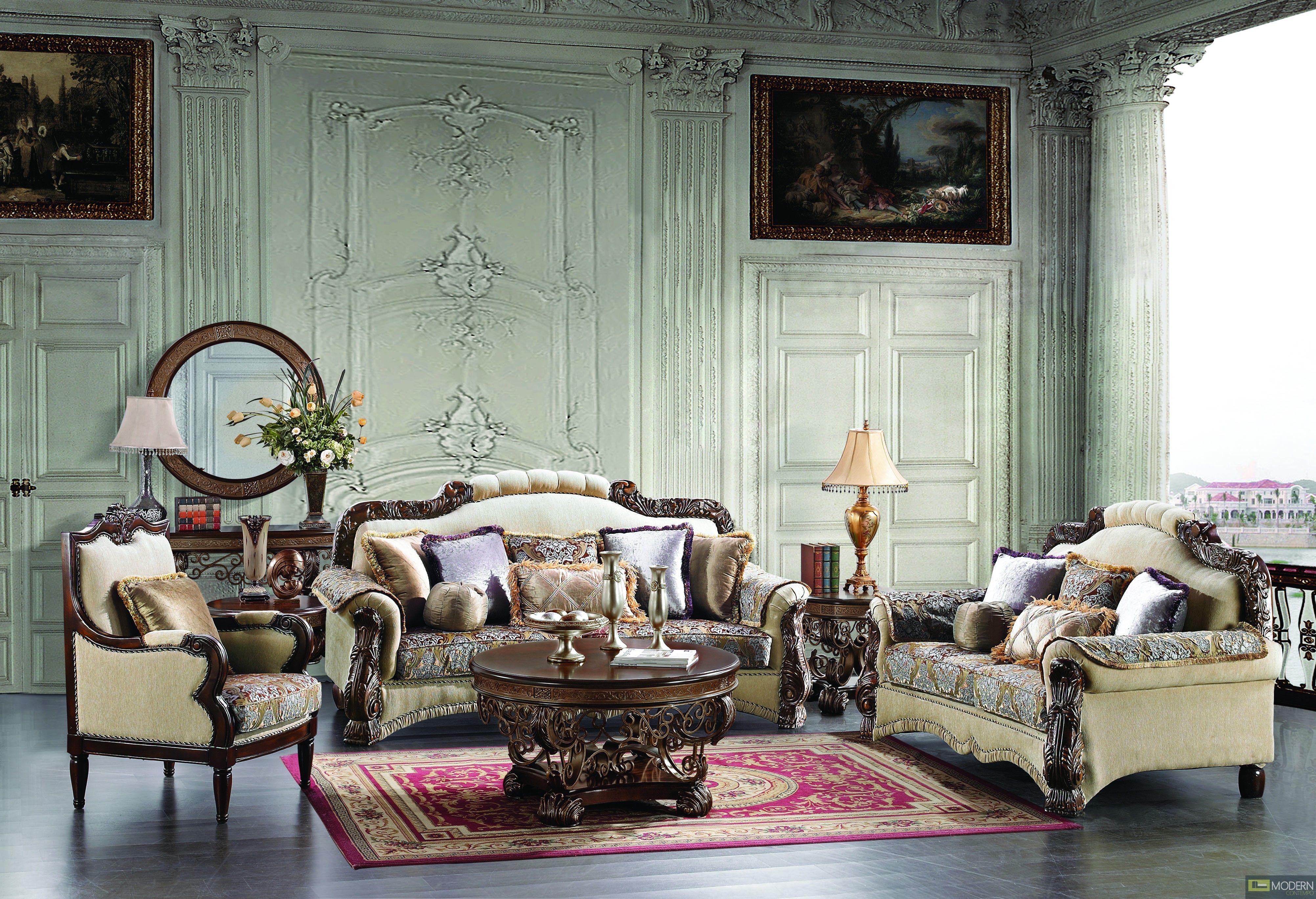 Room · Leather U0026 Fabric Traditional Sofa Set Formal Living ...