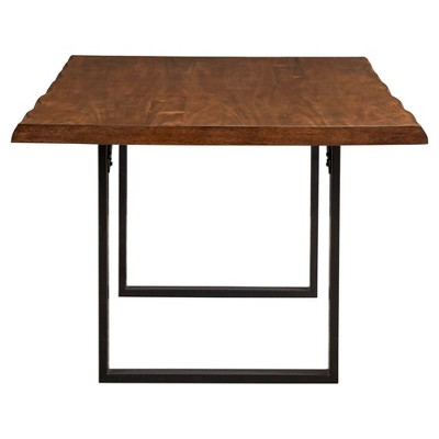 Hartwell Rustic Live Edge Wood Metal Dining Table Brown