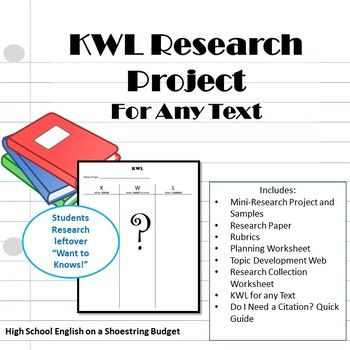 KWL Research Project, Works with Any Text Texts, Activities and - kwl chart