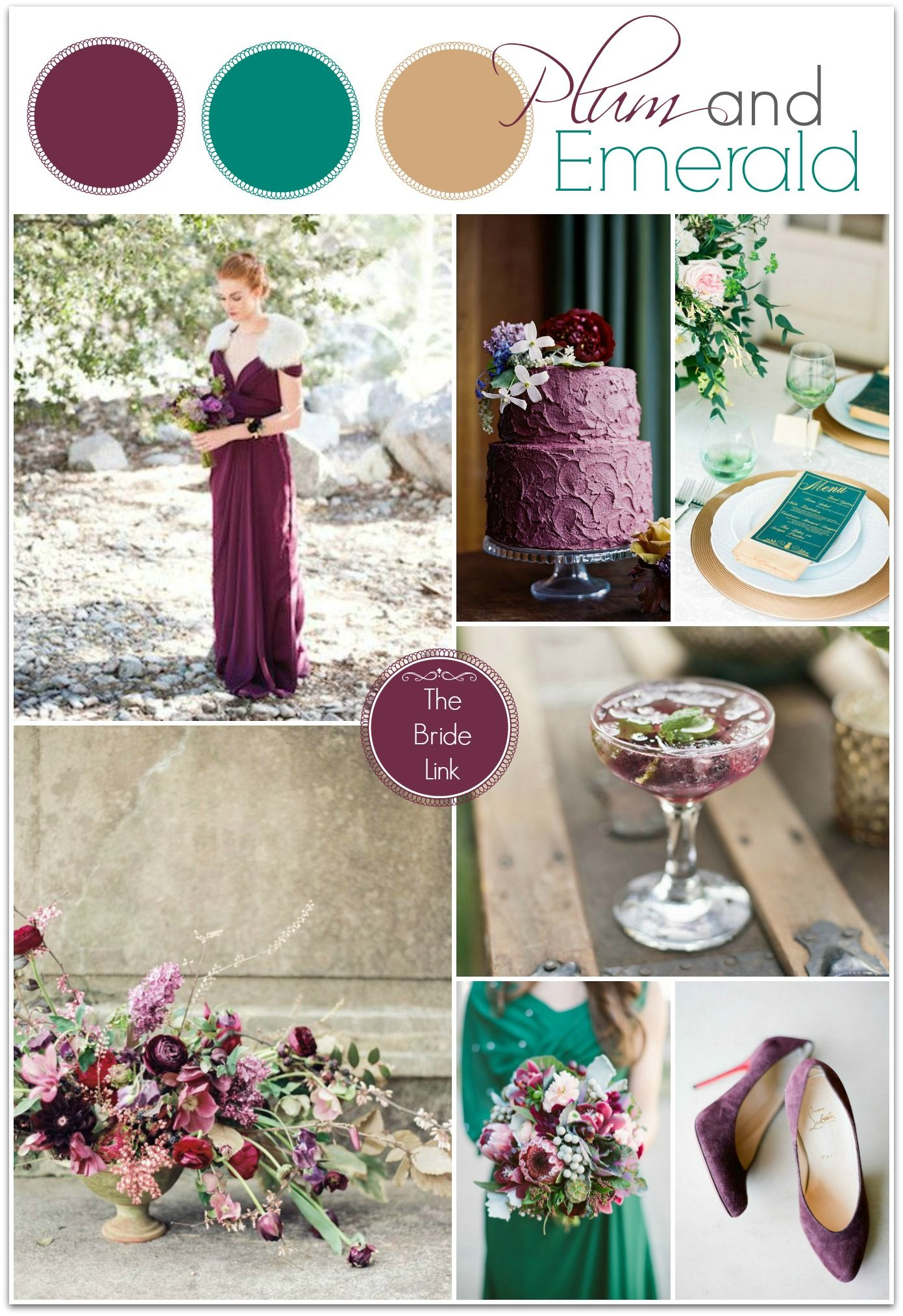 Plum and emerald wedding ideas winter weddings emeralds and color plum and emerald wedding color board todays plum and emerald color board is so classy and elegant but also fun and unique i love emerald with gold accents junglespirit Images