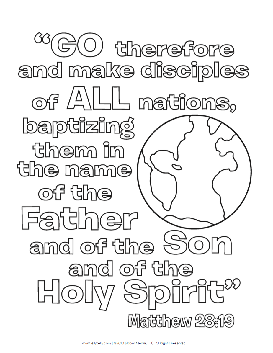 Great Commission Coloring Sheet | Coloring pages, Bible ...