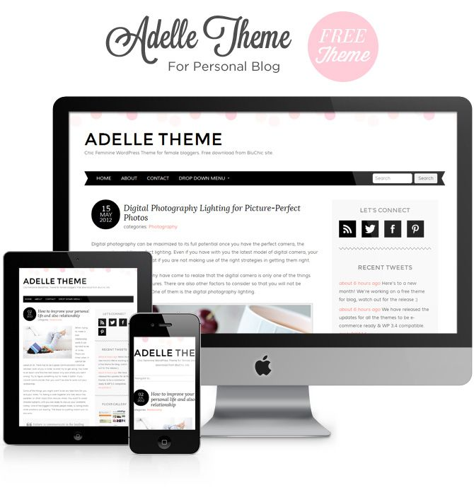 adelle theme free responsive chic feminine wordpress theme with