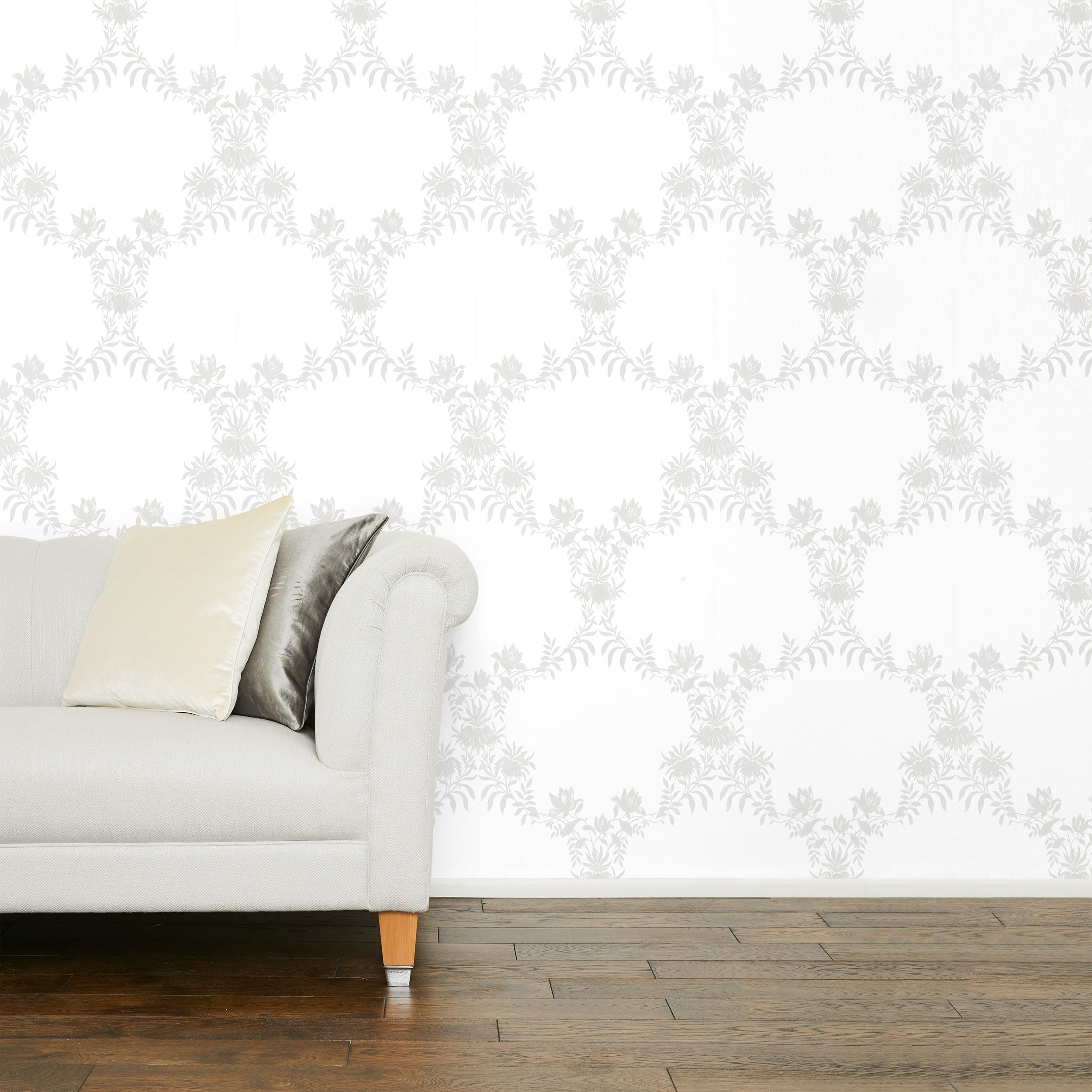 Parterre Trellis Silver Wallpaper In 2020 Home Furnishings Childrens Room Decor Furnishings
