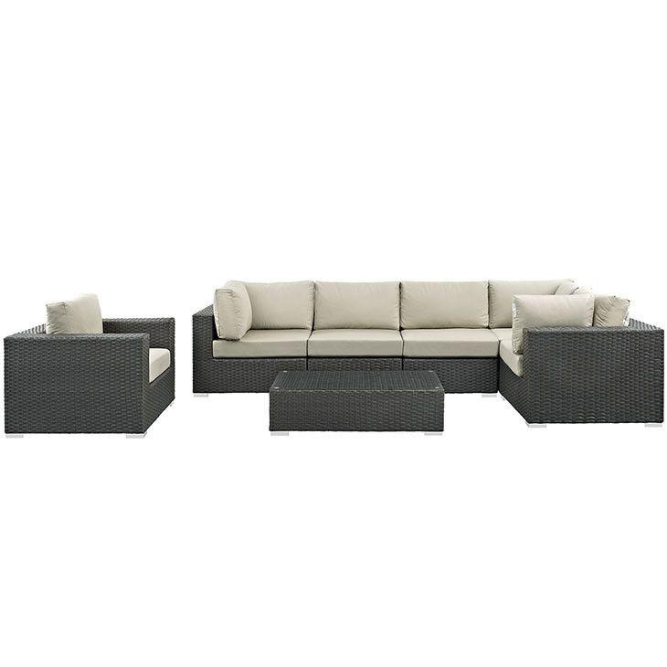 Modway Furniture Modern Sojourn 7 Piece Outdoor Patio Sectional Set in Sunbrella® #design #homedesign #modern #modernfurniture #design4u #interiordesign #interiordesigner #furniture #furnituredesign #minimalism #minimal #minimalfurniture
