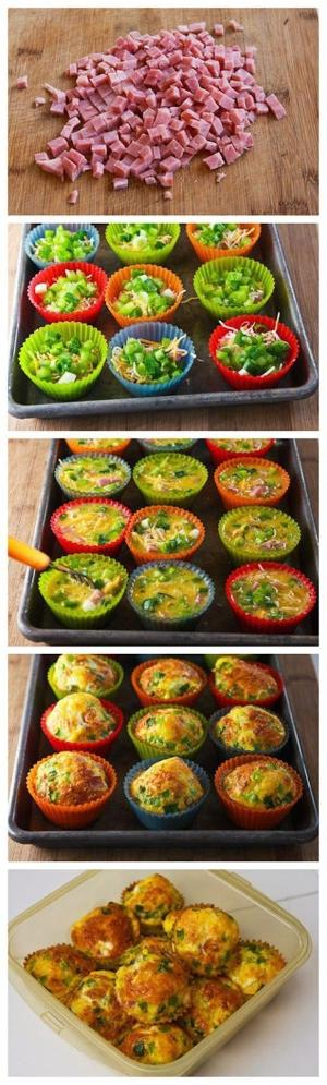 Easy mini quiches fill muffin tin with the filling (meats and veggies) one egg per mini quiche, beat with a teaspoon of cream for each season accordingly... Pour in and top with cheese bake until golden Enjoy! by viola