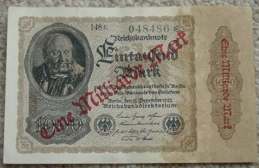 A 1000 mark bill reprinted with red stamp saying one