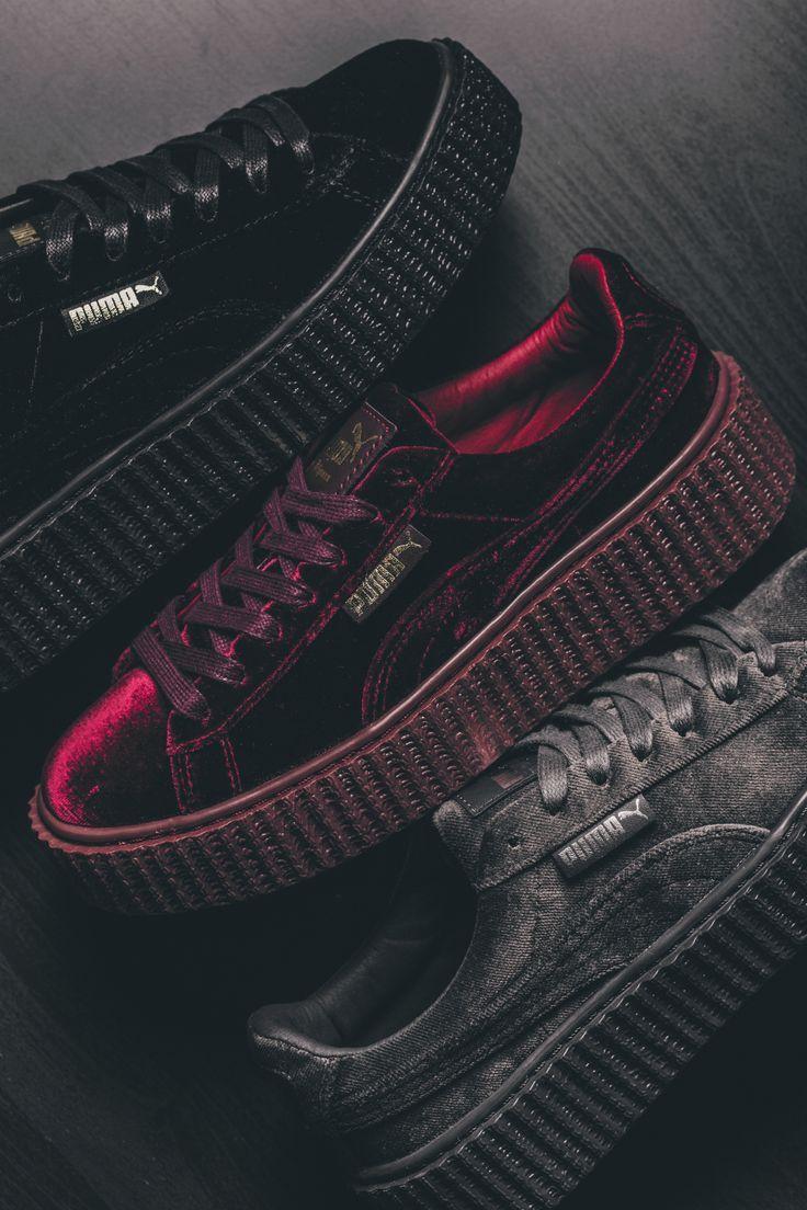 Puma Creepers Sneaker aus Samt in rot, schwarz und grau