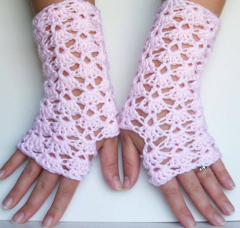 Light Pink Crochet Lace Fingerless Gloves For Texting and Driving ...