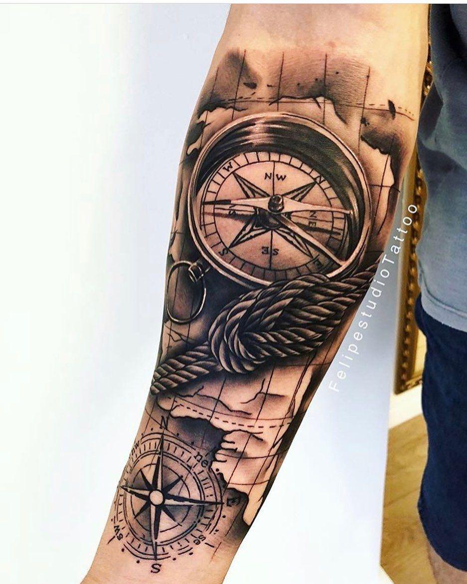 Motive kompass tattoos männer Tattoo Männer