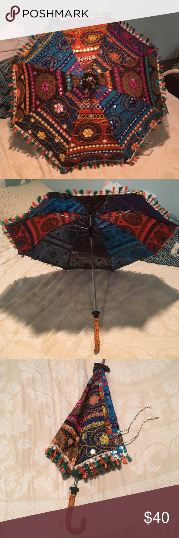 """Traditional Indian umbrella 13"""" of umbrella in length, pole is about 24"""" in length. Super cute for bedroom decoration! I had it in the upper corner of my room for a while! Adorable and hard to get them not broken. They are often shipped online from sketchy places and arrive broken (trust me). Anthropologie for views and similar style! Anthropologie Accessories Umbrellas"""