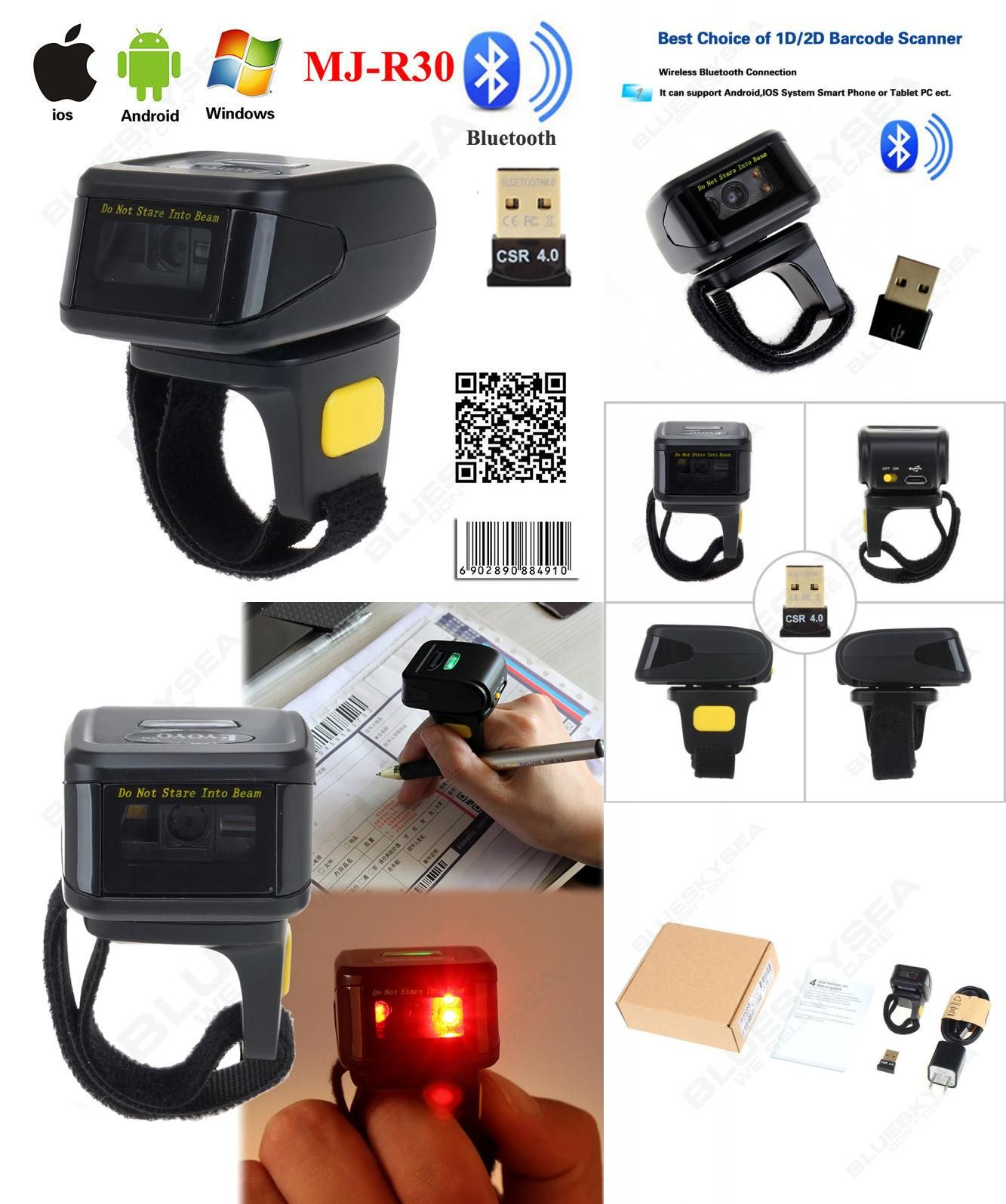 Visit to Buy] MJ-R30 Mini Bluetooth Portable Ring 2D Scanner Barcode