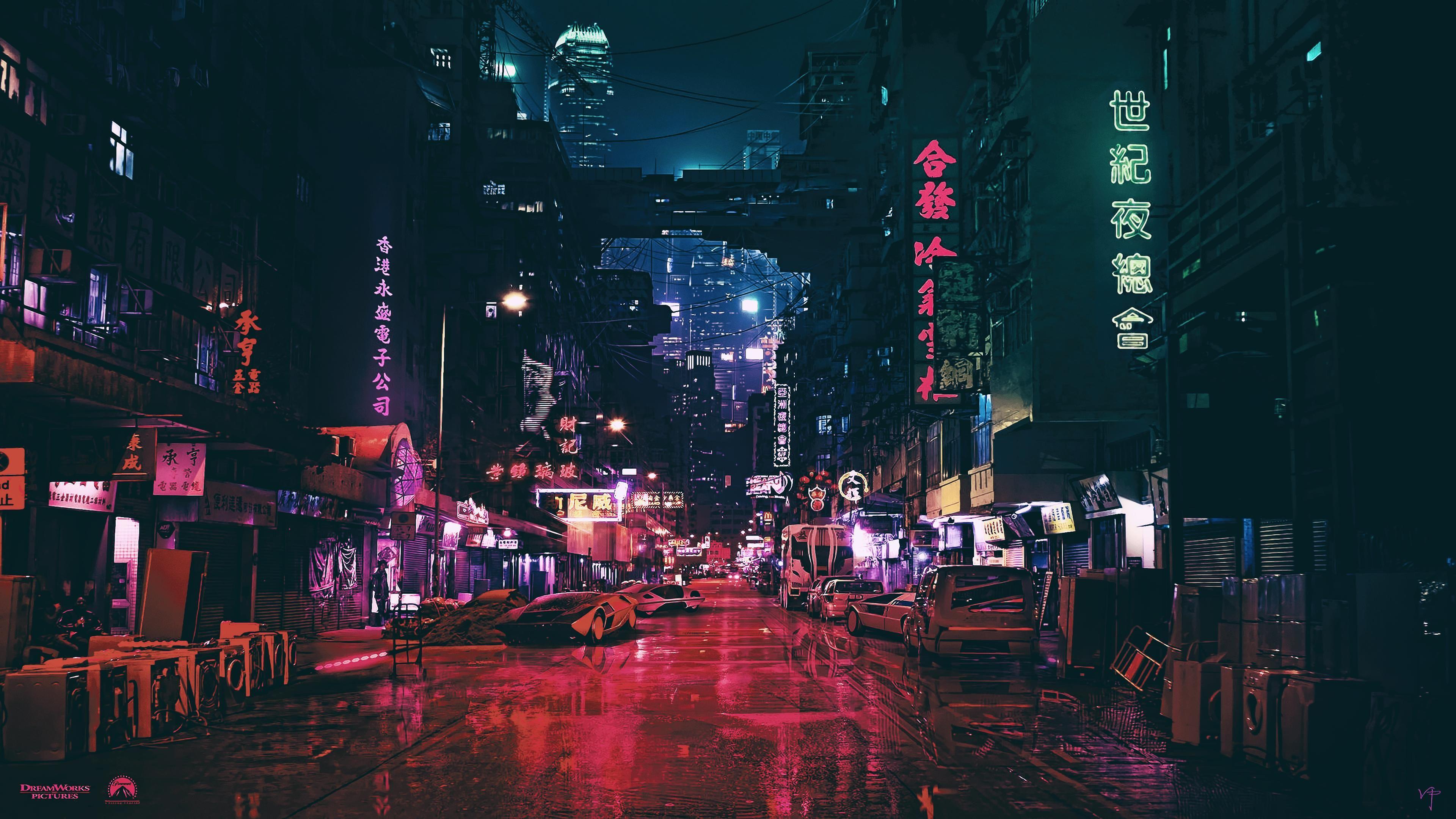 Futuristic Chinatown At Night 4k Wallpaper Kota Cyberpunk Wallpaper Desktop Wallpaper Anime