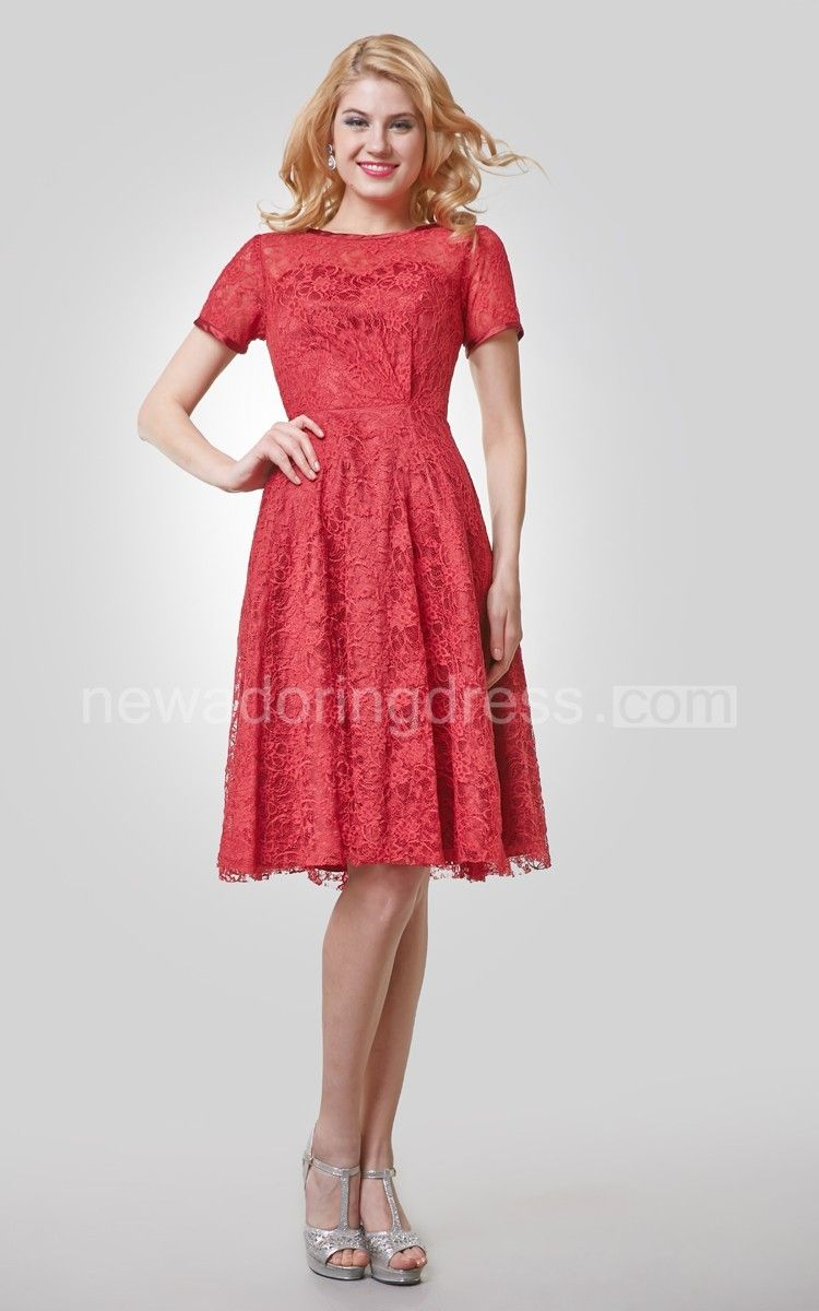 Short sleeve knee length lace aline dress with bateau neck bateau