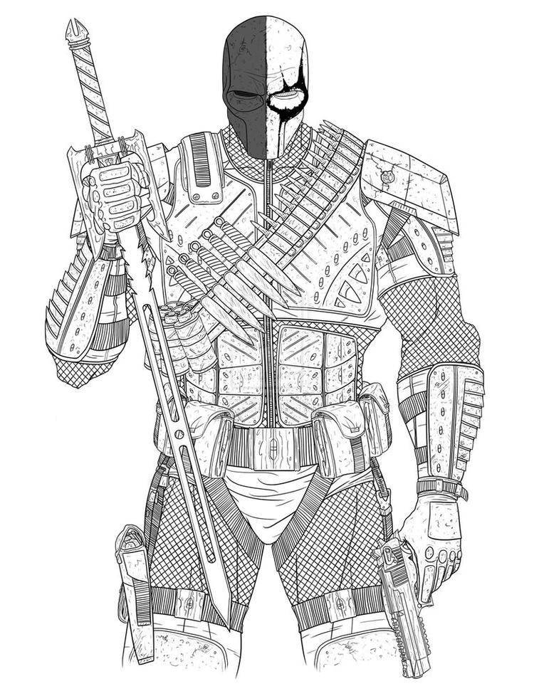 Simple Deathstroke Coloring Pages Arkham Origins Deathstroke