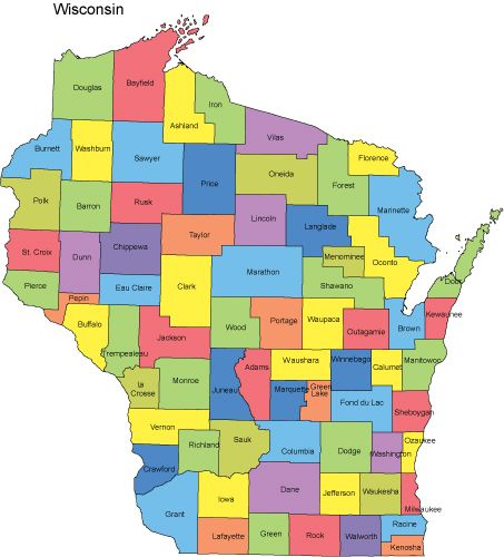 Wisconsin PowerPoint Map Counties Wisconsin