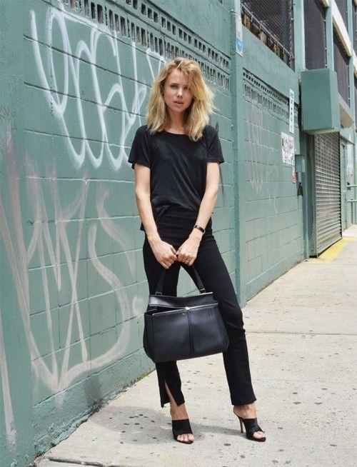 www.redreidinghood.com — Elin Kling wearing mules and all black everything