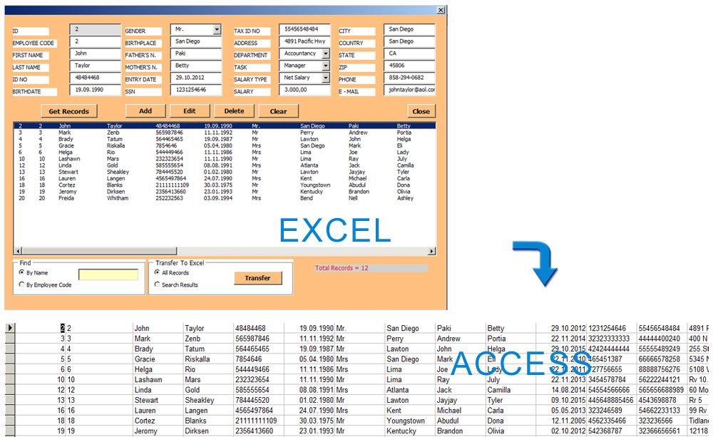 Access Database Management With Excel Userform With This Userform