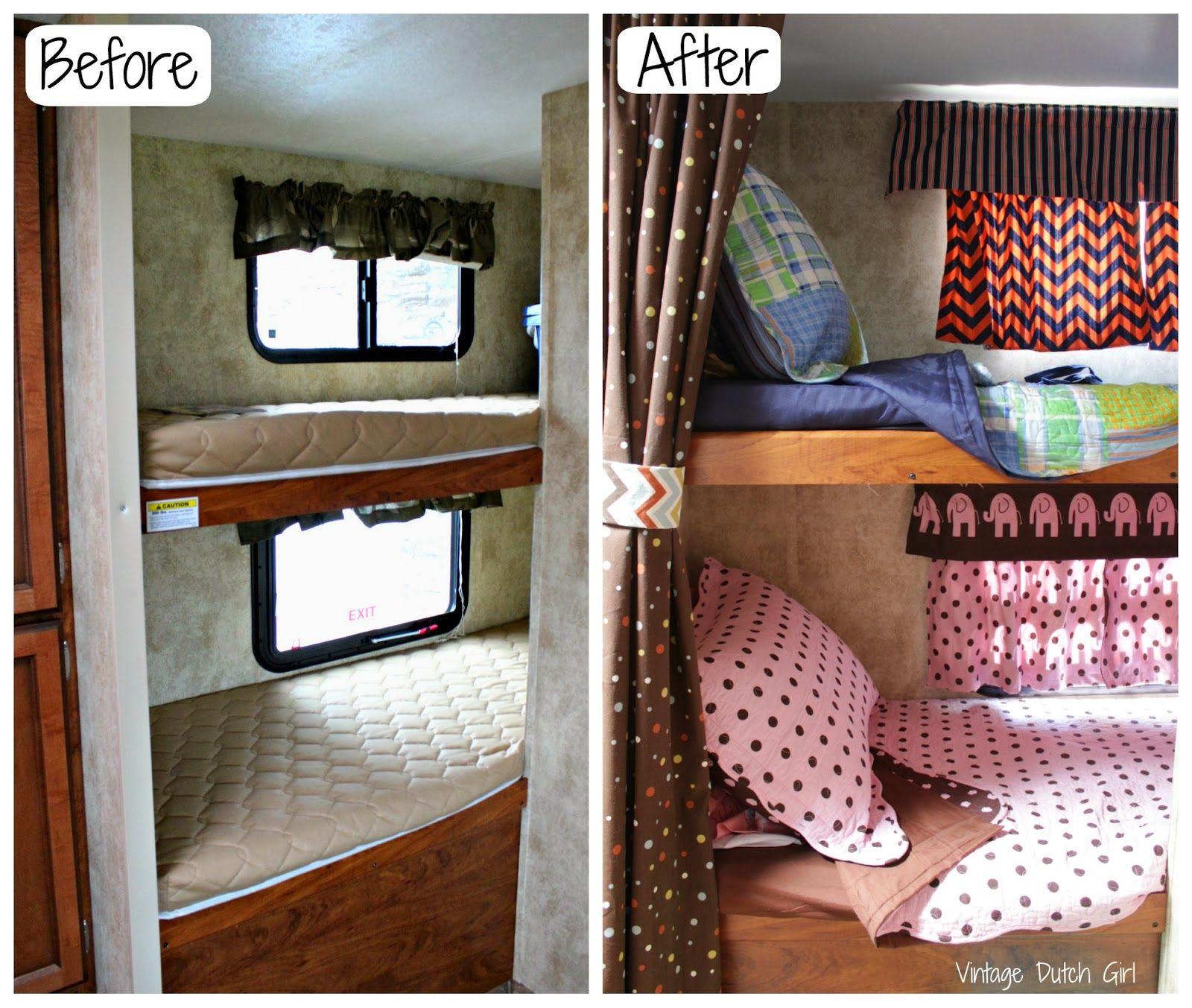 Vintage dutch girl travel trailer makeover part 9 bunk for Rv loft bed