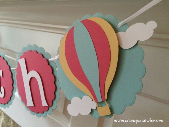 254a6e4ac27d1 Hot Air Balloon Banner - Baby Shower or Birthday Party Decor by Once ...