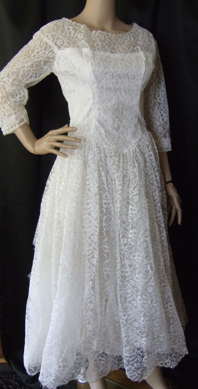 Vintage s white lace ballerinalength wedding dress with three