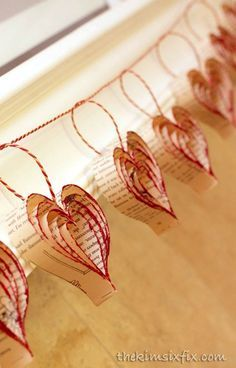 Glittered Book Page Heart Garland