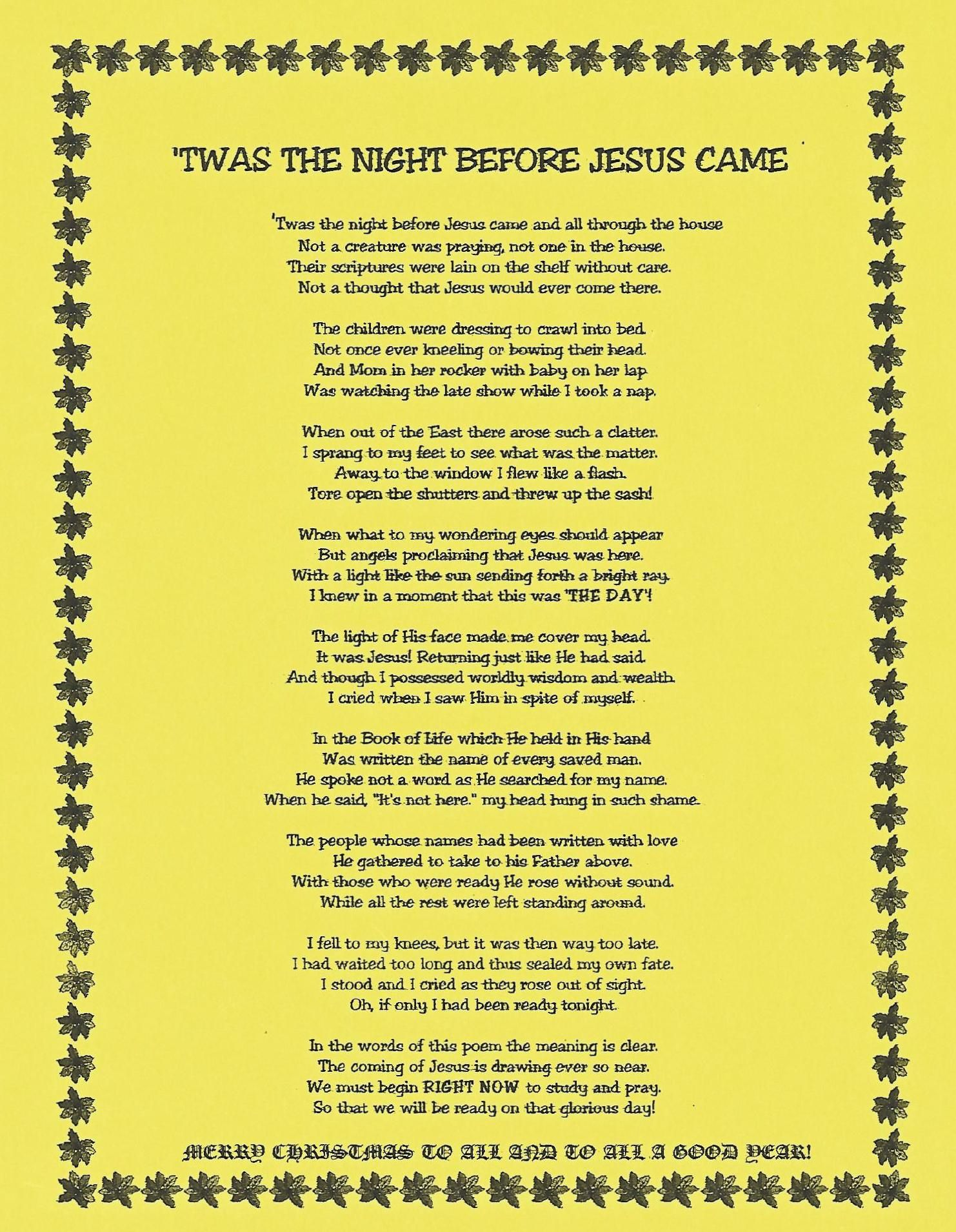 photograph about Twas the Night Before Jesus Came Printable named Twas The Night time In advance of Jesus Arrived Xmas ~ What does it